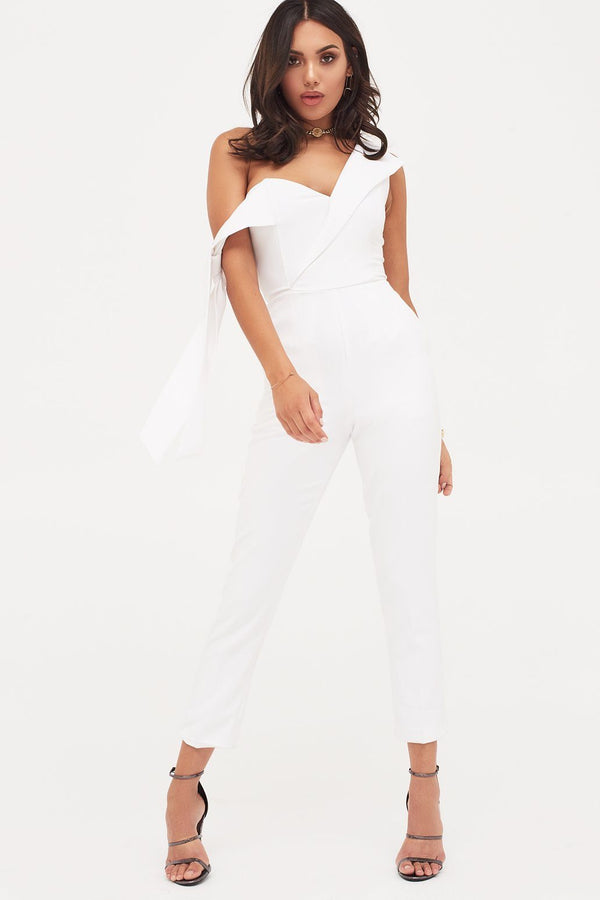 6946f77162 Tie Sleeve Detail Jumpsuit With Folded Back in White ...