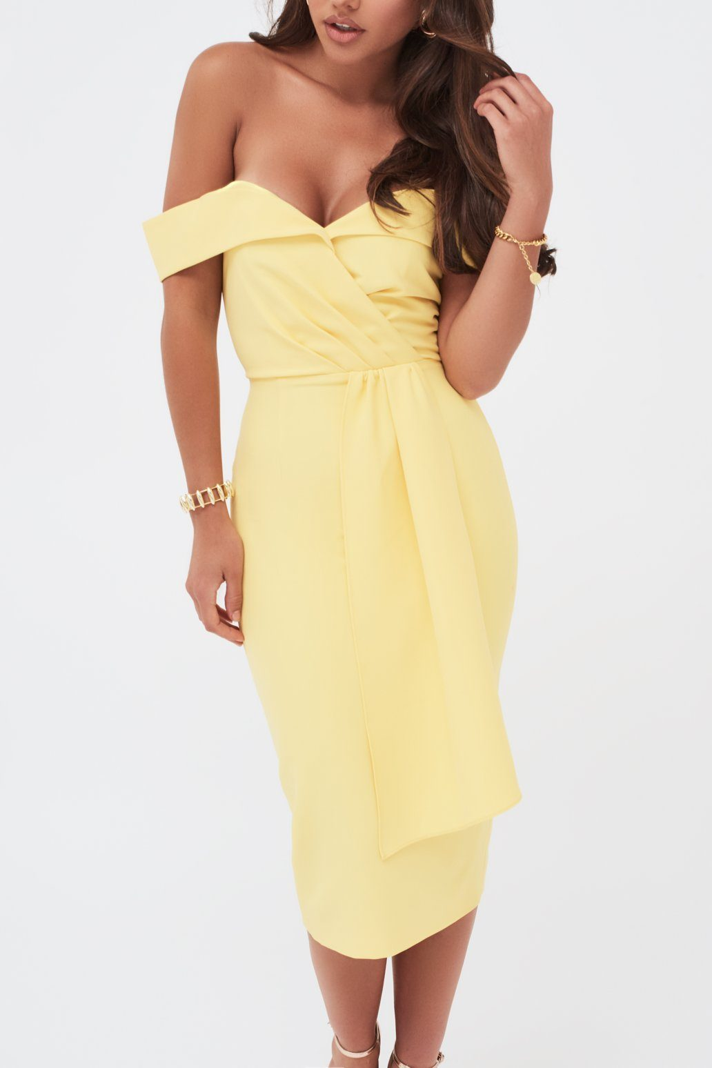 Pleated Bardot Draped Belt Midi Dress In Yellow
