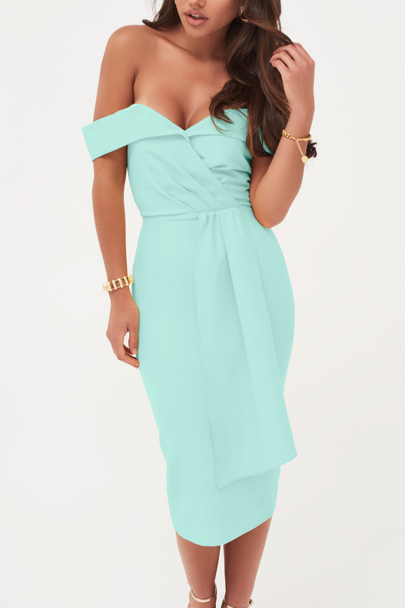 Bardot Draped Belt Midi Dress in Mint