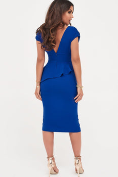 Deep Plunge Peplum Midi Dress in Cobalt