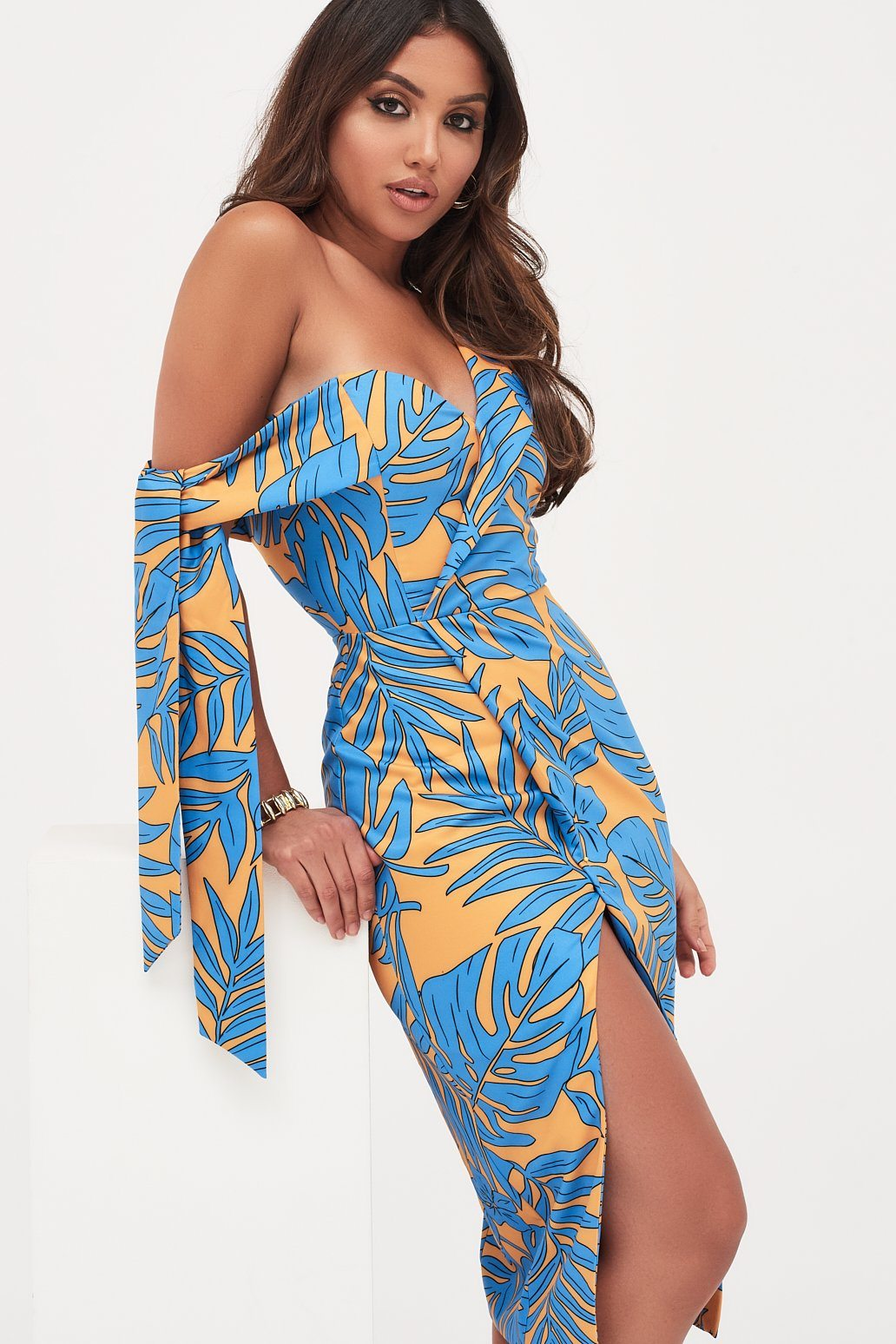 Tie Sleeve Detail Wrap Midi Dress With Fold In Palm Print