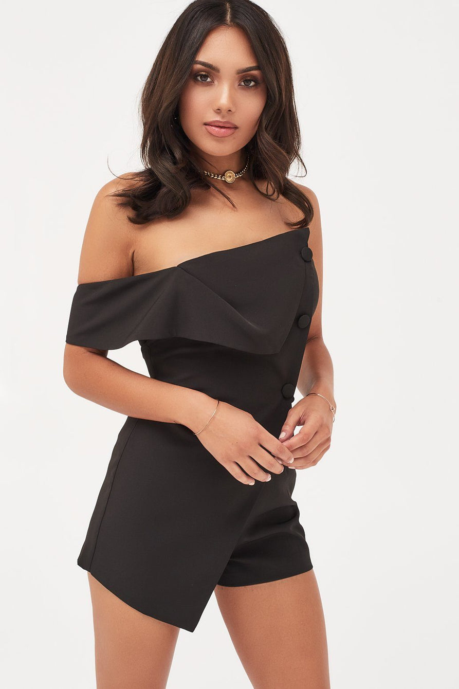 Folded Neck Button Detail Playsuit in Black
