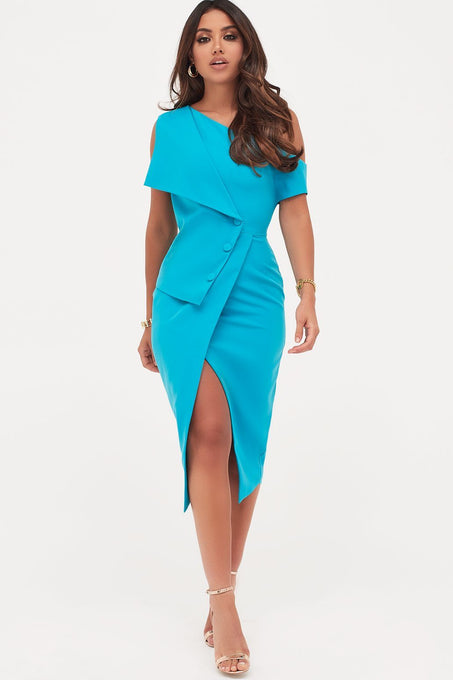 Button Detail Off The Shoulder Wrap Dress in Turquoise