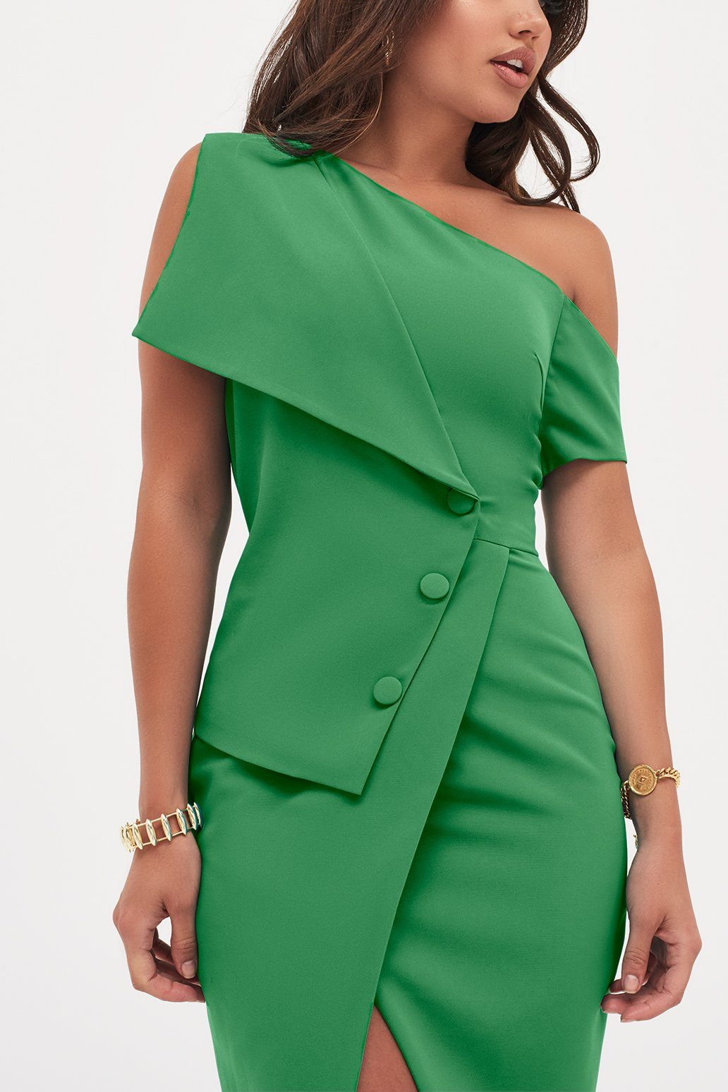 Button Detail Off The Shoulder Wrap Dress In Emerald Green