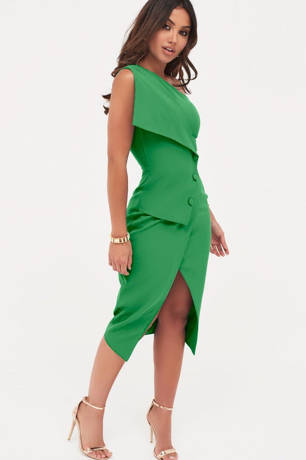 b63e660c5a4dc Button Detail Off The Shoulder Wrap Dress In Emerald Green ...