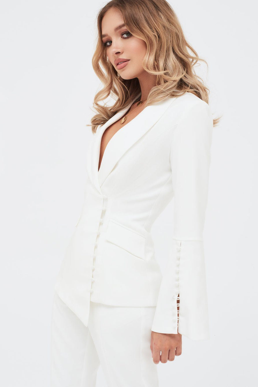 Bell Sleeve Fitted Blazer With Button Detail in White