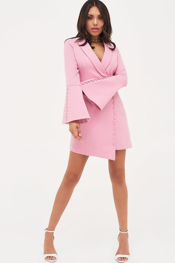 7acd17b4a7e Button Detail Blazer Mini Dress in Pink ...