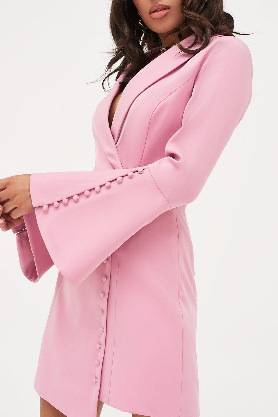 Button Detail Blazer Mini Dress in Pink
