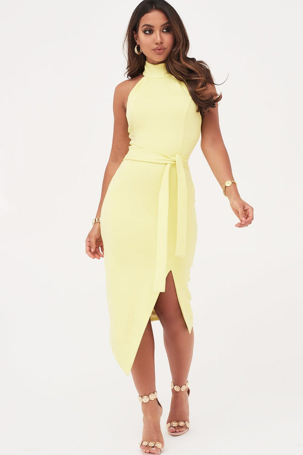 1f4ab339333 High Neck Halter Asymmetric Hem Midi Dress In Yellow ...