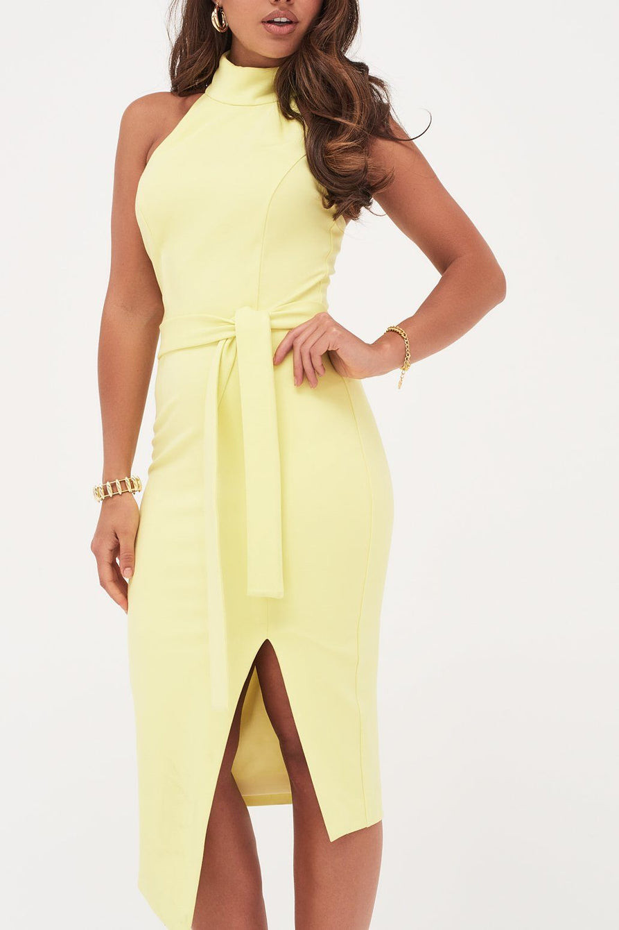 High Neck Halter Asymmetric Hem Midi Dress In Yellow