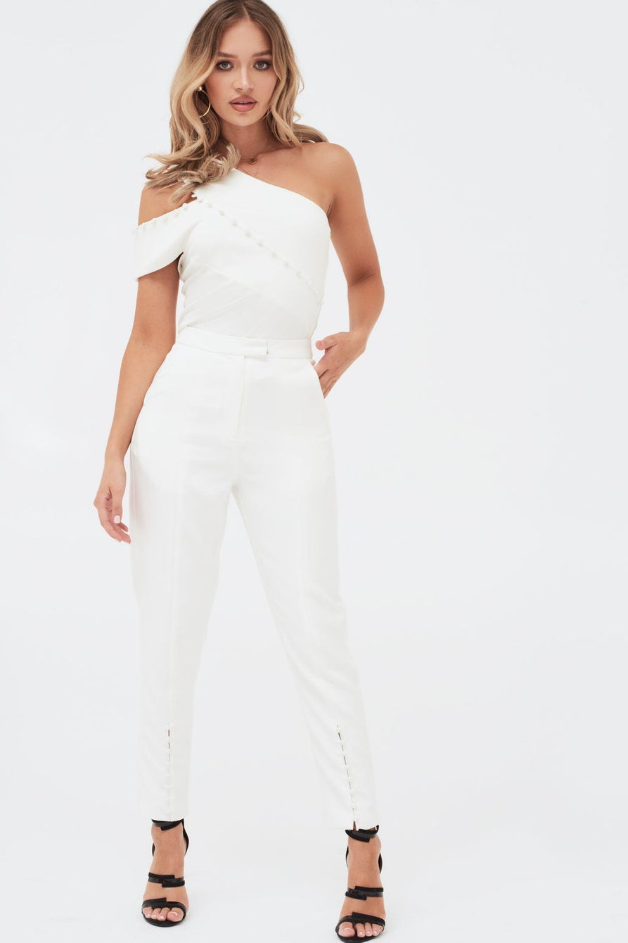 Button Detail Tailored Trousers in White