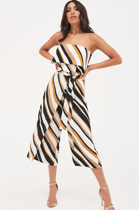 Double Layer Bandeau Culotte Jumpsuit in Stripes Print