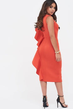 Scuba Frill V-Neck Midi Dress In Scarlet Red
