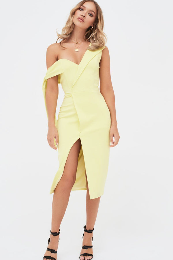 888de4e91fc Tie Sleeve Detail Wrap Midi Dress With Fold In Yellow ...