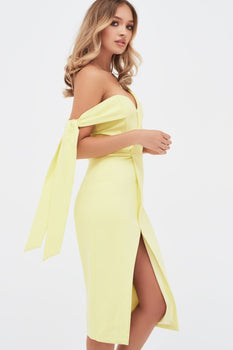 Tie Sleeve Detail Wrap Midi Dress With Fold In Yellow