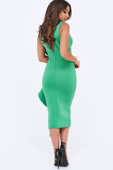 Draped Frill Midi Scuba Dress In Emerald Green