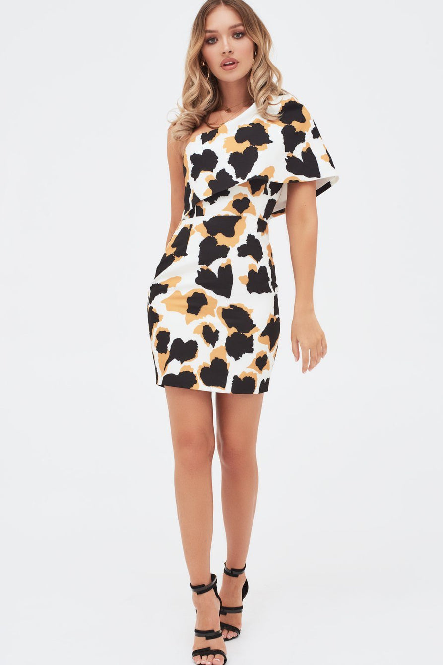 One Shoulder Cape Mini Dress In Animal Print