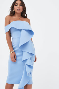 Bardot Exaggerated Frill Scuba Midi Dress In Dusty Blue