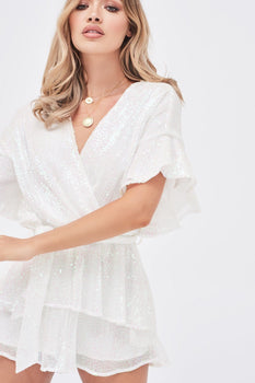 Sequin Frill Double Tiered Playsuit In White