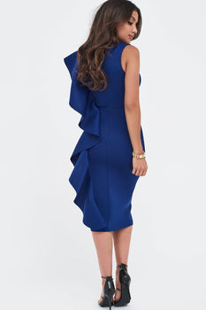 Scuba Frill V-Neck Midi Dress In Navy