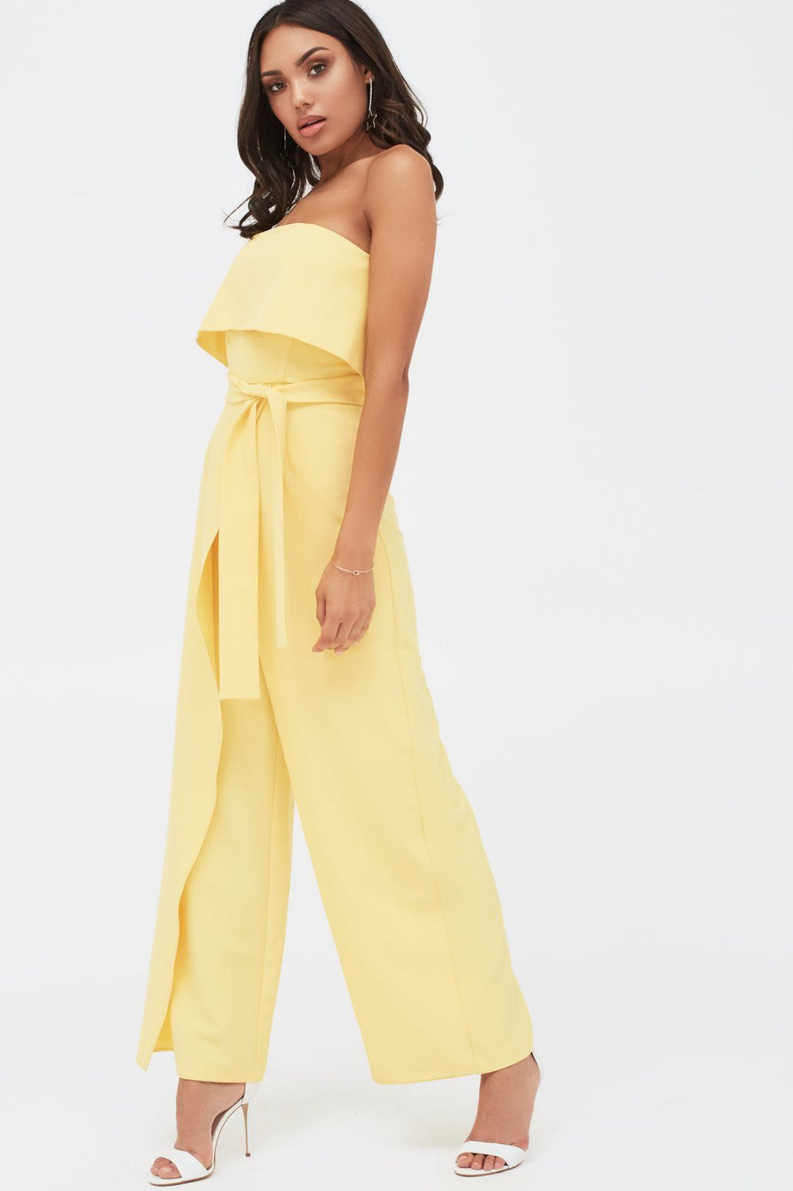 Double Layer Bandeau Wide Leg Jumpsuit in Yellow