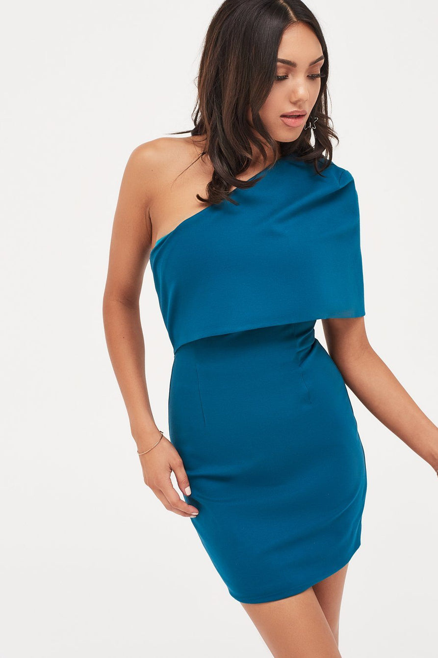 One Shoulder Cape Mini Dress In Turquoise