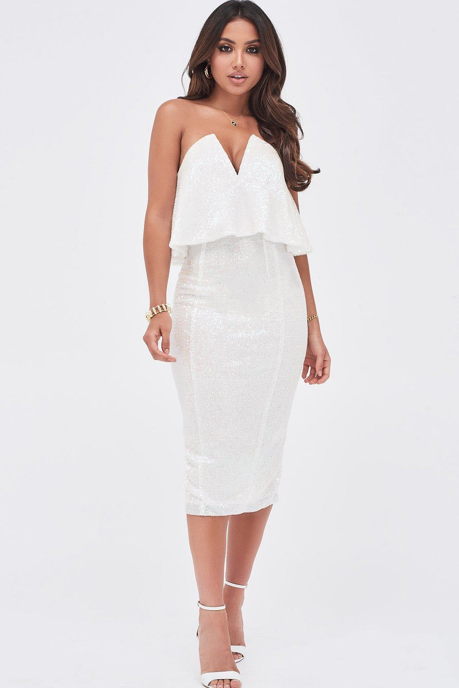 Sequin V-Front Layered Bandeau Midi Dress In White