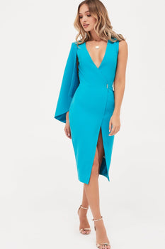 Metal Clasp Wrap Dress With Half Cape in Turquoise