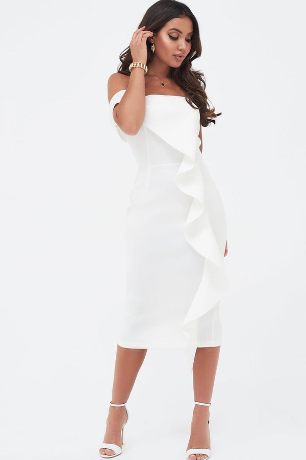 97773724137 Bardot Exaggerated Frill Scuba Midi Dress In White ...