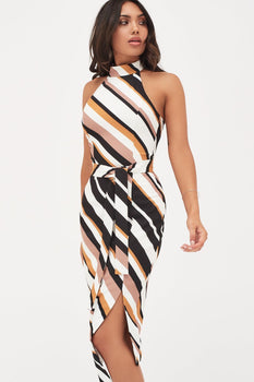 High Neck Halter Asymmetric Hem Midi Dress In Stripes Print