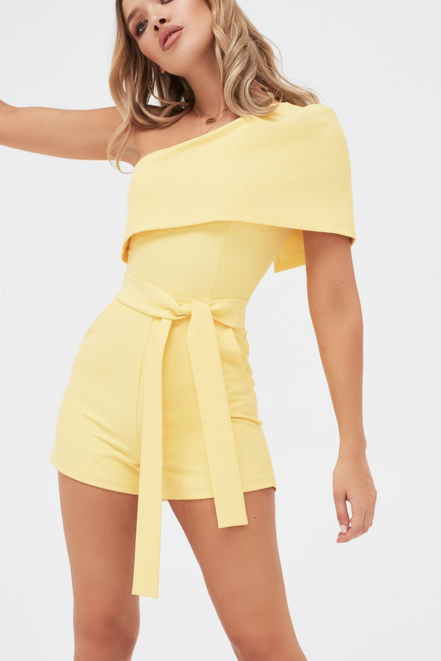 One Shoulder Cape Playsuit In Yellow