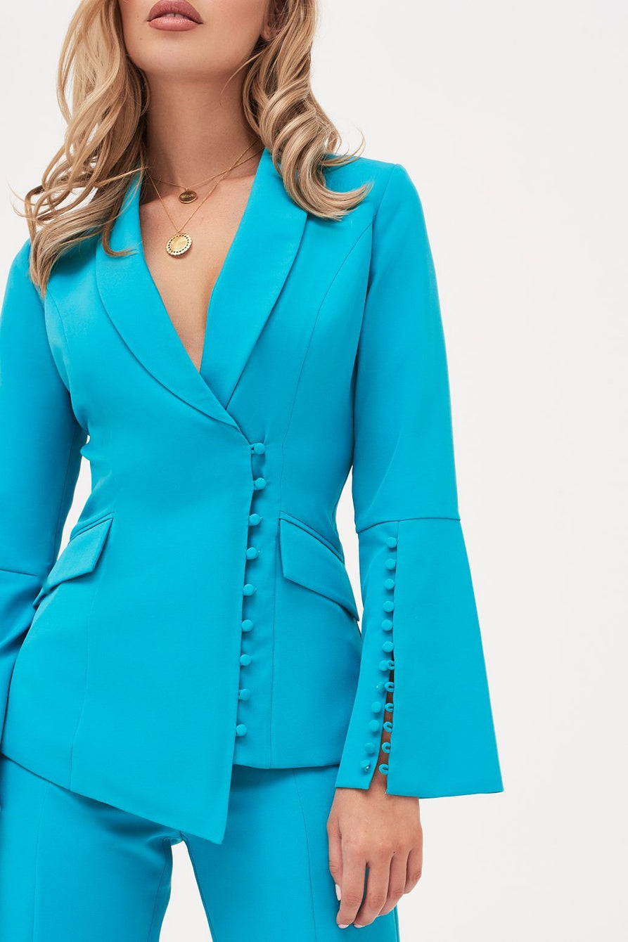 Bell Sleeve Fitted Blazer With Button Detail in Turquoise