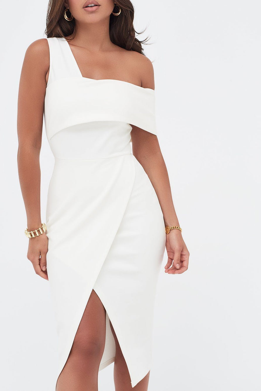 Ponte One Side Bandeau Wrap Midi Dress in White