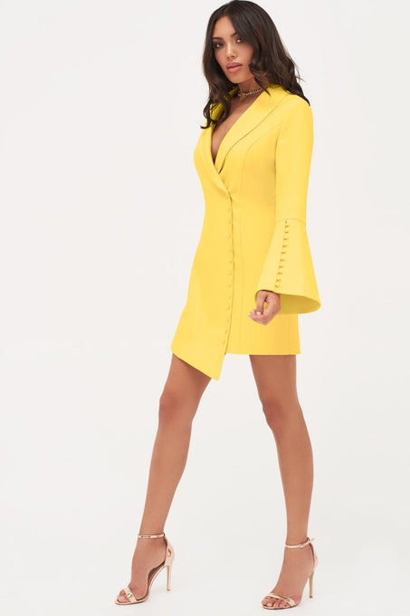 Button Detail Blazer Mini Dress in Yellow