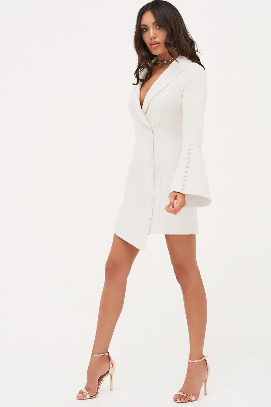 Button Detail Blazer Mini Dress in White