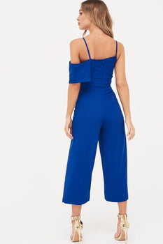 Multi Strap One Side Bandeau Culotte Jumpsuit in Cobalt
