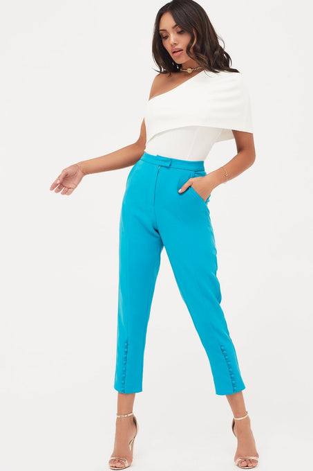 Button Detail Tailored Trousers in Turquoise