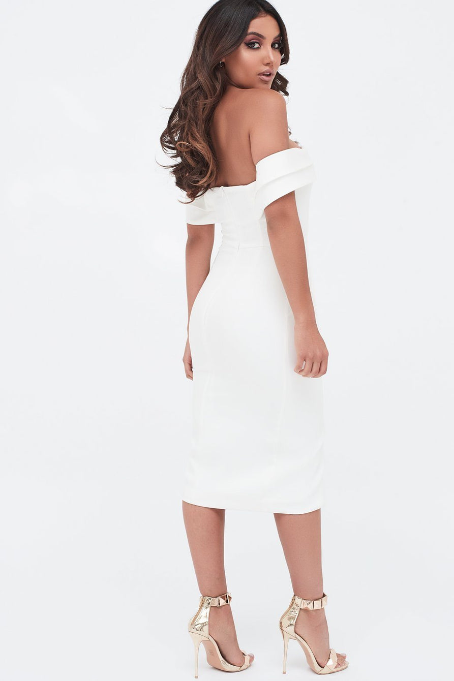 Double Layer Bardot Midi Dress In White