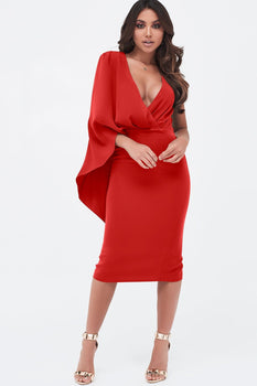 One Shoulder Caped Midi Dress In Red