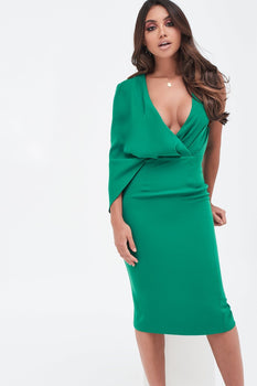 One Shoulder Caped Midi Dress in Emerald Green