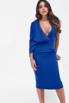 One Shoulder Caped Midi Dress in Cobalt Blue