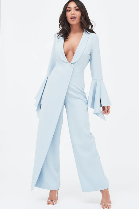 Dropped Frill Bell Sleeve Wide Leg Jumpsuit in Dusty Blue