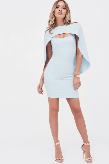 Cut Out Mini Dress With Cape in Dusty Blue