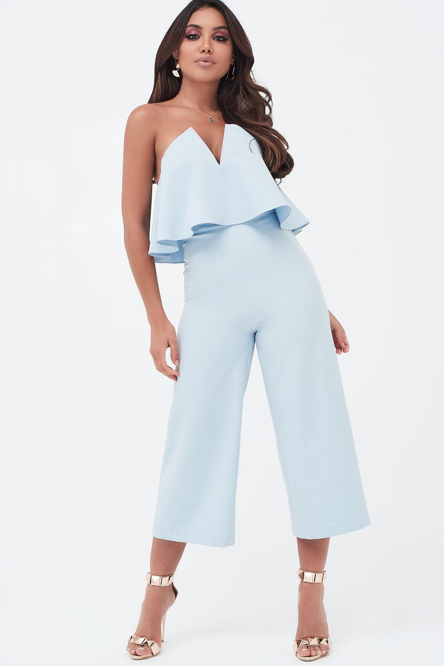 V-Front Layered Bandeau Culotte Jumpsuit In Dusty Blue