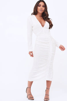 Sequin Ruched Side Midi Dress In White