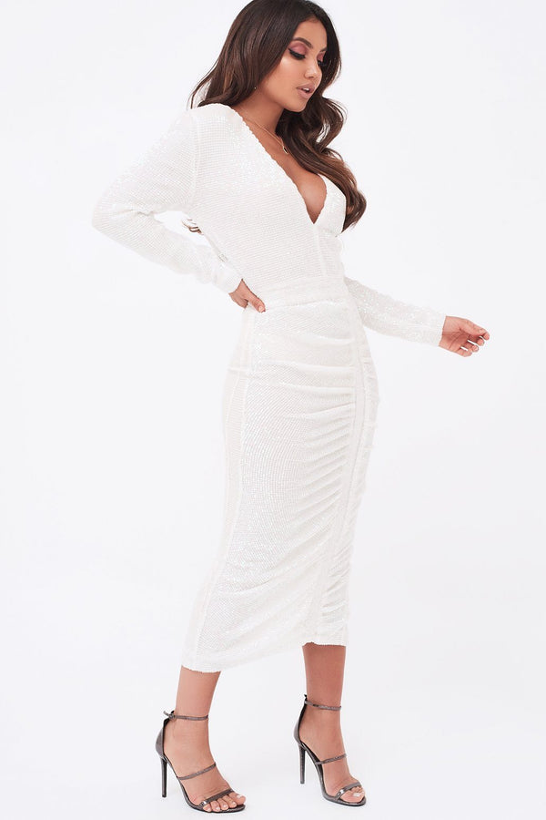 31777b344c Sequin Ruched Side Midi Dress In White ...