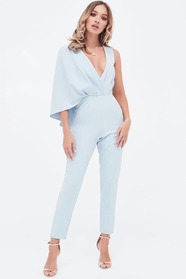 9adb86102e One Shoulder Caped Tailored Jumpsuit in Dusty Blue ...