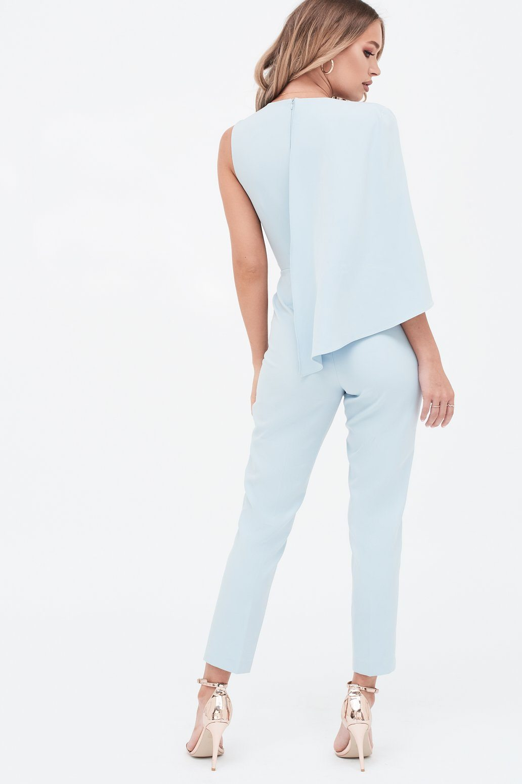 One Shoulder Caped Tailored Jumpsuit in Dusty Blue