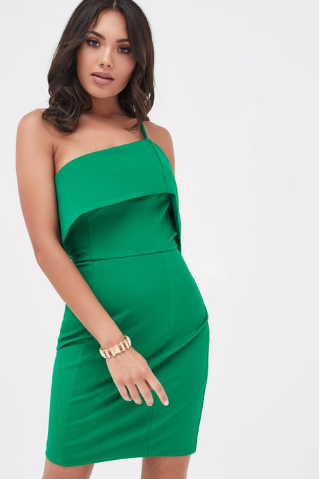 Single Strap One Shoulder Mini Dress in Emerald Green