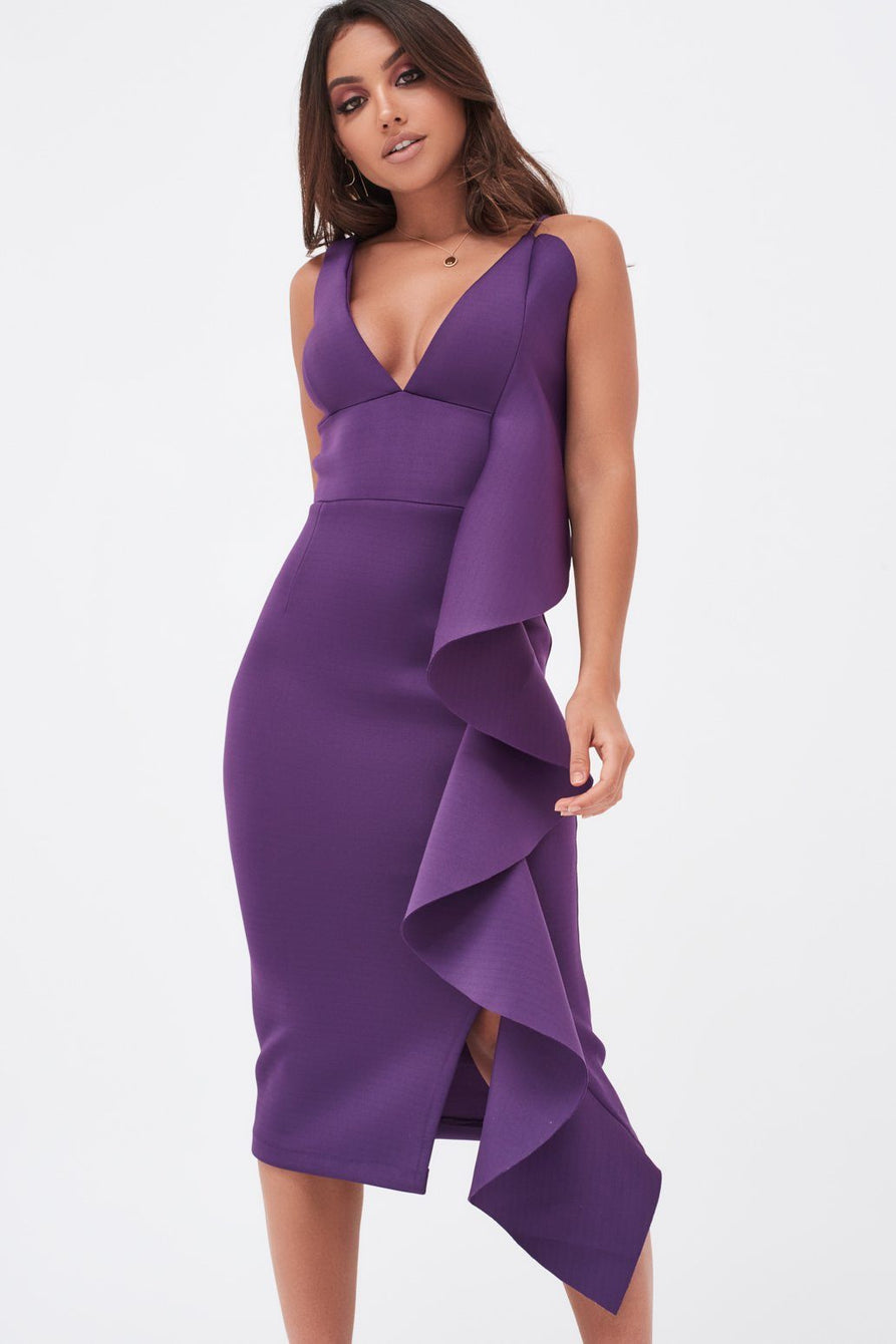 Draped Frill Scuba Midi Dress in Purple